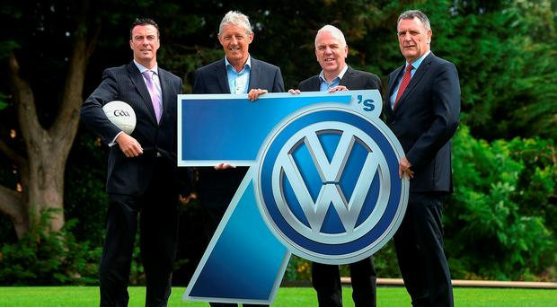 At the launch of the Volkswagen Kilmacud Crokes Sevens were Ray Cosgrove, Tomás Ó Flatharta, Volkswagen's Paul O'Sullivan, and club chairman Kevin Foley Picture: Sportsfile
