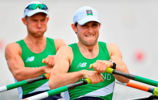 Gary and Paul O'Donovan in action during the Men's Lightweight Double Sculls heats. Photo by Brendan Moran/Sportsfile