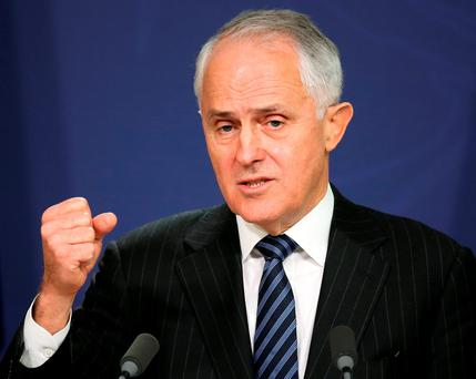 Australia's Prime Minister Malcolm Turnbull comments in Sydney, Wednesday, Aug. 10, 2016, after the Australian Bureau of Statistics shut down its website to protect data Tuesday night after four denial-of-service attacks that came from somewhere overseas. An official says Australia's first attempt to conduct a census online is in disarray after several cyberattacks on the website. (AP Photo/Rick Rycroft)