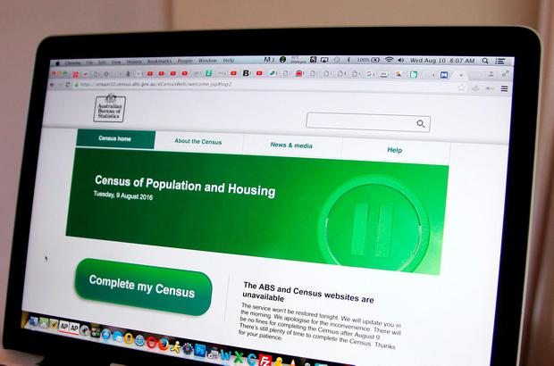 The web page of the Australian Bureau of Statistics shows that it is unavailable, in Sydney, Wednesday, Aug. 10, 2016. An official said Wednesday Australia's first attempt to conduct a census online was in disarray after several cyberattacks on the website. (AP Photo/Rick Rycroft)