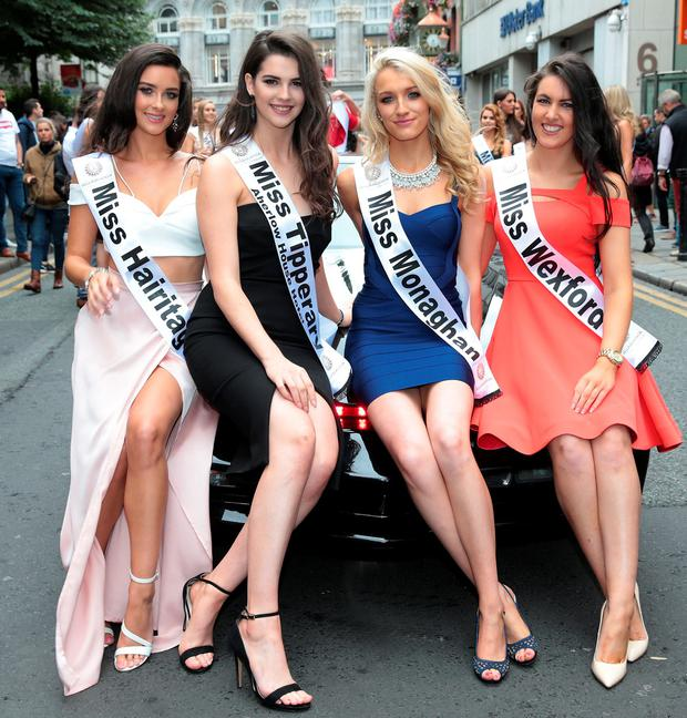 Aoife McGeane, Niamh Kennedy, Niamh Boyle and Anne Marie Blake at the launch of Miss Ireland 2016 ,in association with Bellamianta Tan. Picture: Brian McEvoy