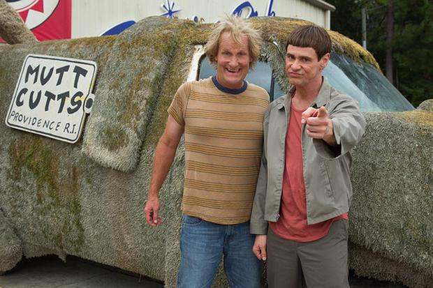 Jeff Daniels and Jim Carey with the original Mutt Cutt Van. Photo: Universal Pictures