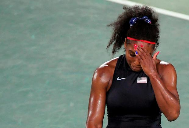 Serena Williams (USA) of USA reacts during her match against Elina Svitolina (UKR) of Ukraine. REUTERS/Toby Melville
