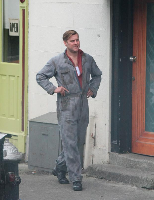 Peter Coonan on location in Enniskerry Village, Co. Wicklow shooting his new movie. Pics : Mark Doyle