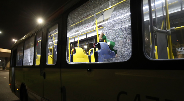 Damage to a media bus in the Deodoro area of Rio de Janeiro on the fourth day of the Rio Olympic Games, Brazil. PRESS ASSOCIATION Photo.