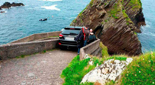 Blasket Islands Ferry handout photo of a car that has been wedged on a walkway used by ferry passengers making their way from Dunquin to the Blasket Islands off Co Kerry in Ireland