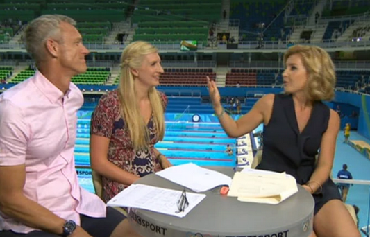 Helen Skelton (right) with former swimmers Mark Foster and Rebecca Adlington. Photo: BBC