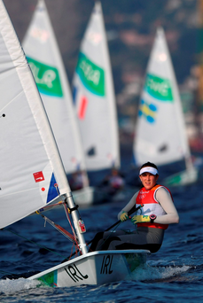 Ireland's Annalise Murphy competes in the Laser Radial Women sailing class on Marina da Gloria in Rio de Janerio during the Rio 2016 Olympic Games on August 9, 2016. / AFP PHOTO / Greg BAKERGREG BAKER/AFP/Getty Images
