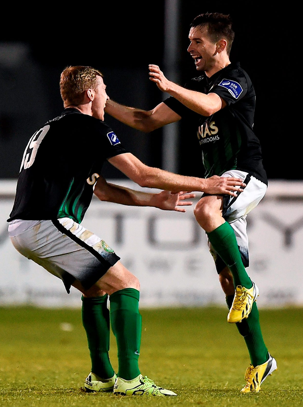 Karl Moore, right, of Bray Wanderers celebrates after scoring his side's second goal. Photo: David Maher/Sportsfile