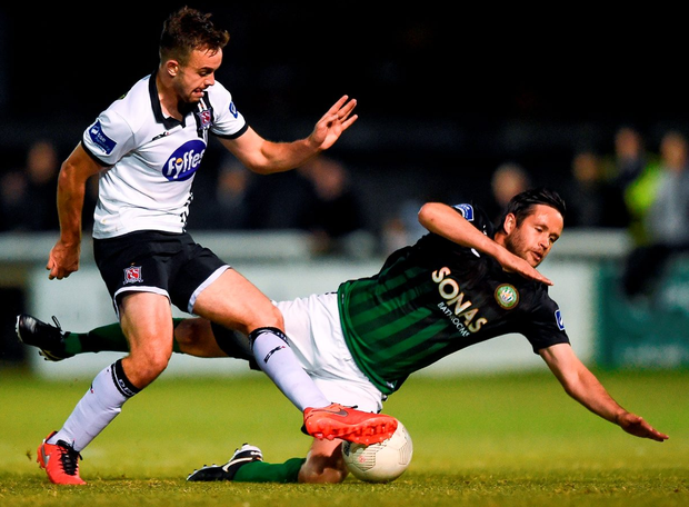 Robbie Benson of Dundalk in action against Robbie Creevy of Bray Wanderers. Photo: David Fitzgerald/Sportsfile