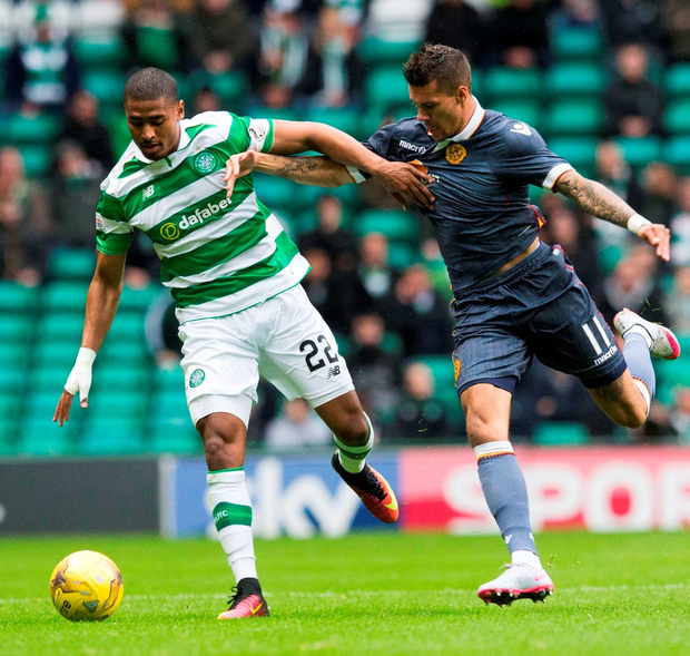 Celtic's Saidy Janko and Motherwell's Marvin Johnson battle for the ball. Photo: Jeff Holmes/PA Wire