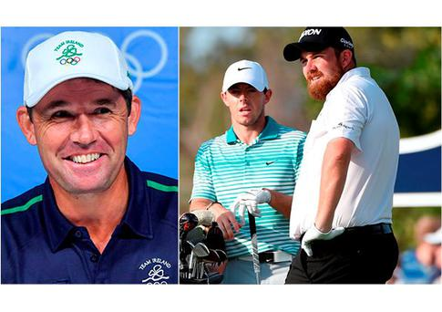 Padraig Harrington tees off in Rio today and (right) Rory McIlroy and Shane Lowry opted out