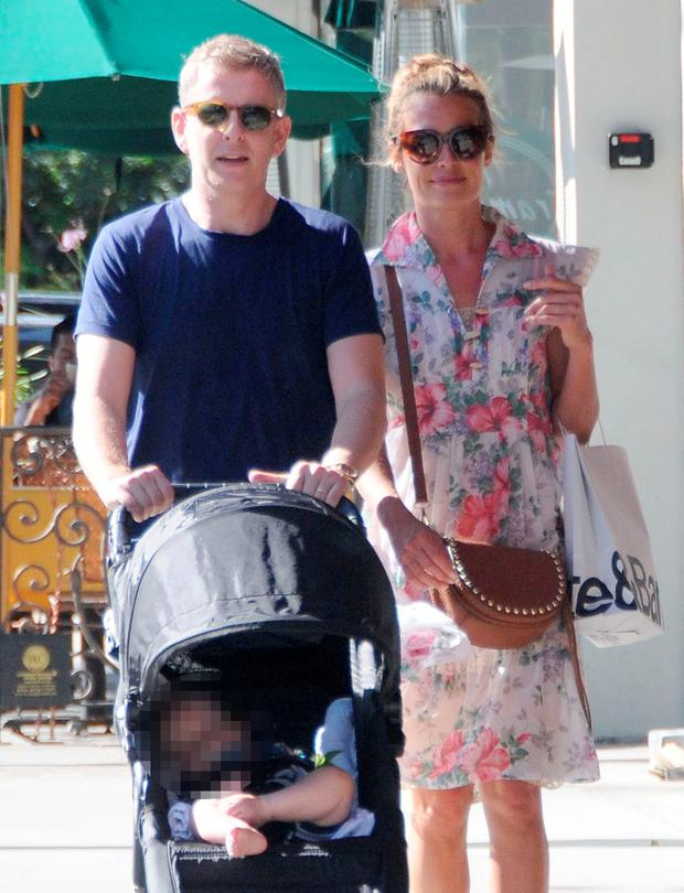 Cat Deeley is seen with her husband Patrick Kielty and son Milo in Los Angeles. Picture: Fame Flynet