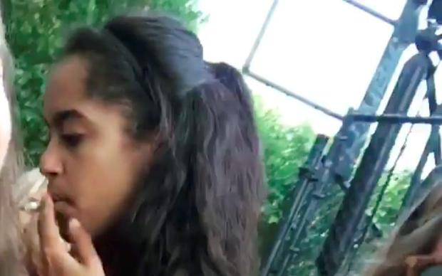 Malia spotted at the Lollapalooza festival. Screengrab from video posted on Radar Online