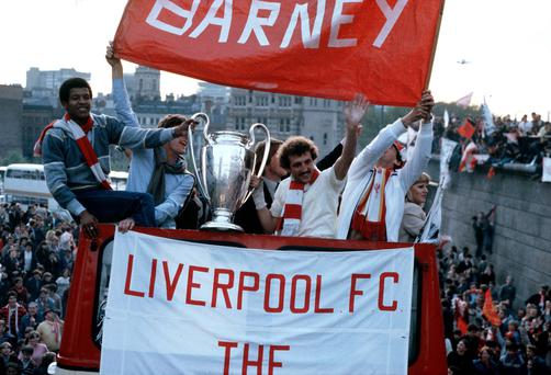 The victorious Liverpool team parade the European Cup on Merseyside after they had beaten Real Madrid 1-0 in Paris, with the goalscorer Alan Kennedy, right, and Howard Gayle holding the Cup