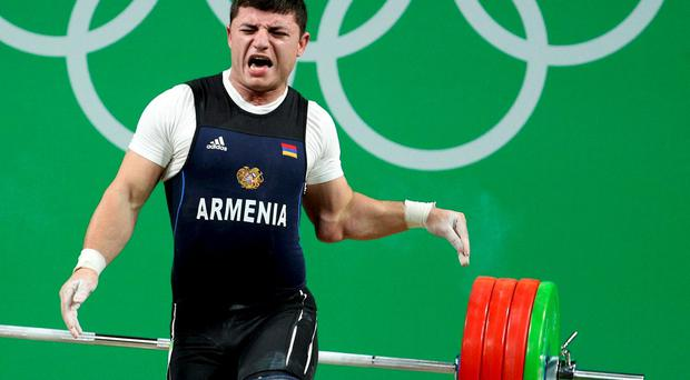 Andranik Karapetyan of Armenia suffers horrific injury