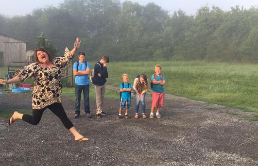 Mum Keshia Leann Gardner, from Alabama, could not look more joyous that the first day of school has finally arrived. Photo via Facebook