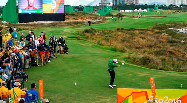 Padraig Harrington of Ireland on the first tee box during Round 1 of the men's strokeplay competition at the Olympic Golf Course