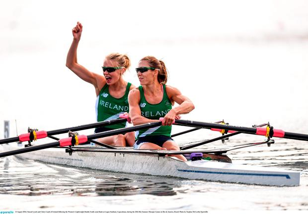 11 August 2016; Sinead Lynch and Claire Lamb of Ireland following the Women's Lightweight Double Sculls semi-finals at Lagoa Stadium, Copacabana, during the 2016 Rio Summer Olympic Games in Rio de Janeiro, Brazil. Photo by Stephen McCarthy/Sportsfile