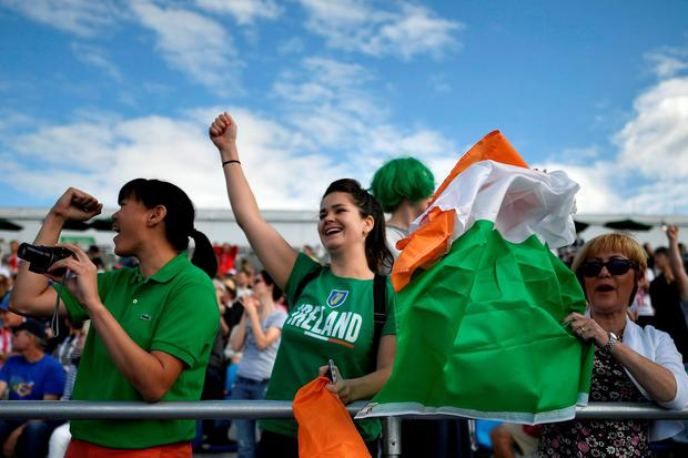 Irish fans cheering during the women's double sculls semi-final at the Lagoa stadium in Rio. Getty Images