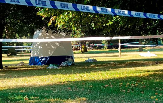 The scene in Hyde Park, London, after a body was discovered.