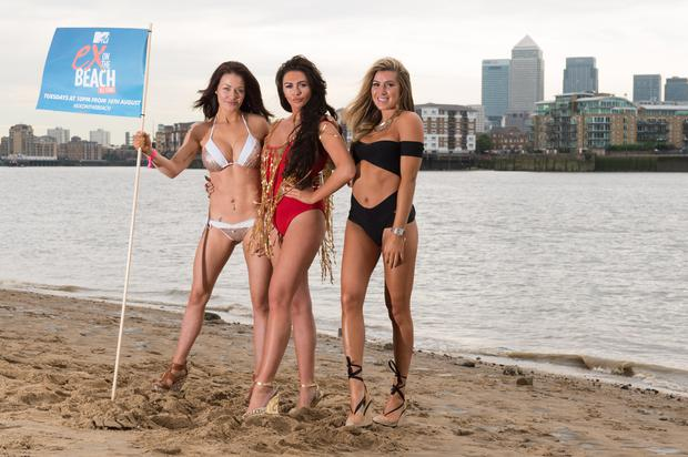 (L-R) Jess Impiazzi, Charlotte Dawson and Lillie Lexi Gregg of 'Ex on The Beach' promote the series starting 16th August on August 1, 2016 in London, England. (Photo by Ian Gavan/Getty Images)