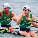 12 August 2016; Paul O'Donovan, right, and Gary O'Donovan of Ireland celebrate after finishing second in the Men's Lightweight Double Sculls A final in Lagoa Stadium, Copacabana, during the 2016 Rio Summer Olympic Games in Rio de Janeiro, Brazil. Photo by Stephen McCarthy/Sportsfile