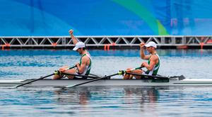 12 August 2016; Paul O'Donovan and Gary O'Donovan of Ireland celebrate after finishing second in the Men's Lightweight Double Sculls A final in Lagoa Stadium, Copacabana, during the 2016 Rio Summer Olympic Games in Rio de Janeiro, Brazil. Photo by Stephen McCarthy/Sportsfile