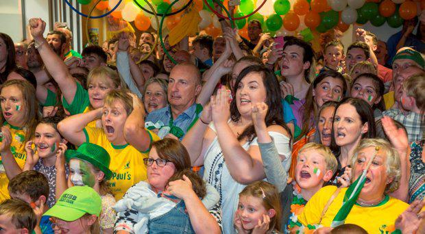 Watching the O'Donovan brothers Olympic silver medal, uncle Peter O'Donovan aunt Sandra and cousin Roisin, centre in Skibereen Credit Union