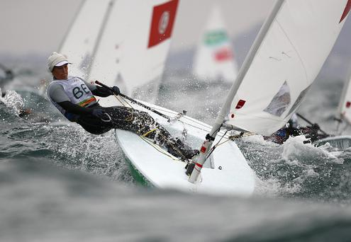 RIO DE JANEIRO, BRAZIL - AUGUST 10: Evi van Acker in action during a Laser Radial class race on Day 5 of the Rio 2016 Olympic Games at the Marina da Gloria on August 10, 2016 in Rio de Janeiro, Brazil. (Photo by Clive Mason/Getty Images)