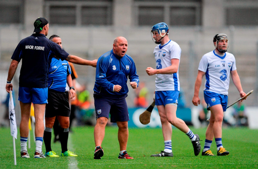 Derek McGrath encourages his Waterford players during last Sundays drawn encounter. Photo: Sportsfile