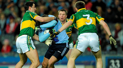 Tomás Ó Sé, pictured centre during his playing days, was encouraged to get in players' faces. Photo: Sportsfile