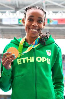 Ethiopia's Almaz Ayana knocked 14 seconds off the world record. Photo: Getty Images