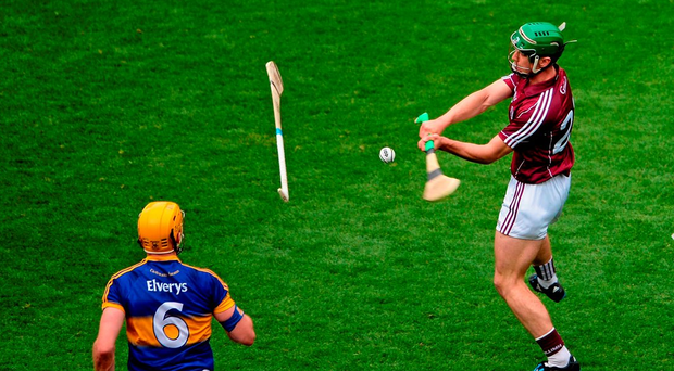 Galway's Shane Maloney scores the winning point in the dying minutes of the All-Ireland SHC semi-final against Tipperary at Croke Park last August. Photo: Sportsfile