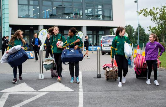 The first of the 7,000 Community Games participants arriving in Athlone yesterday. Photo: Max Feehan