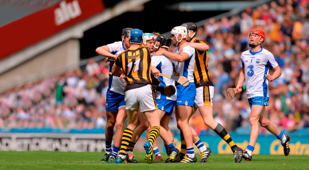 Kilkenny and Waterford players tussle after the half-time whistle during last Sunday's All-Ireland SHC semi-final clash at Croke Park. Photo: Sportsfile