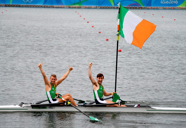 Paul and Gary O'Donovan celebrate after finishing second in the Men's Lightweight Double Sculls. Photo: Getty Images