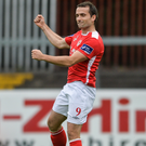 Christy Fagan celebrates scoring his side's winning goal. Picture Credit: Eóin Noonan/Sportsfile
