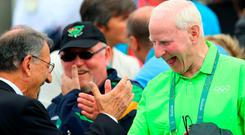 OCI president Pat Hickey (right) celebrates after the O'Donovans race in Rio. Photo: INPHO/James Crosbie