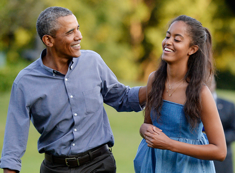 U.S. President Barack Obama and daughter Malia, who was recently caught smoking Marijuana. Picture Credit: Olivier Douliery-Pool/Getty Images