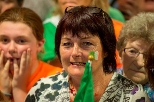 A supporter watches the race at Skibbereen Credit Union. Photo: Michael Mac Sweeney/Provision
