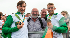 The O'Donovan brothers celebrate with their dad Teddy