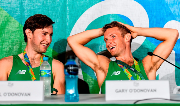 Brothers Paul, left, and Gary O'Donovan after the Men's Lightweight Double Sculls A final in Copacabana, Rio de Janeiro, Brazil. Photo: Brendan Moran/Sportsfile