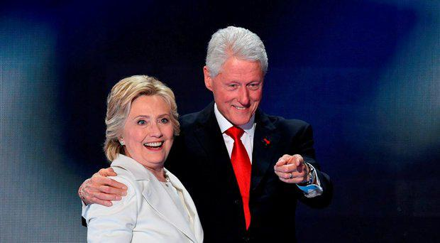 Democratic presidential nominee Hillary Clinton on stage with husband former US president Bill Clinton
