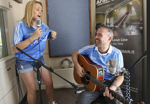 Deirdre Flynn with Stephen Leeson, recording the charity single.