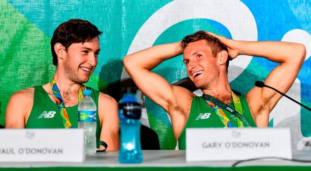 Paul O'Donovan, left, and Gary O'Donovan of Ireland during a press conference after the Men's Lightweight Double Sculls A final in Lagoa Stadium, Copacabana, during the 2016 Rio Summer Olympic Games in Rio de Janeiro, Brazil. Photo by Brendan Moran/Sportsfile