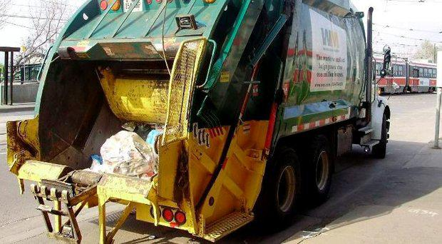 The man survived being compacted in a truck like this one. File picture