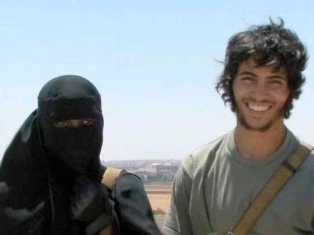 Khadijah Dare, from London, with the Isis fighter she married after arriving in Syria Channel 4