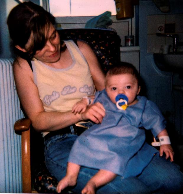 Gina Ahern in Temple St. when her son was three months old
