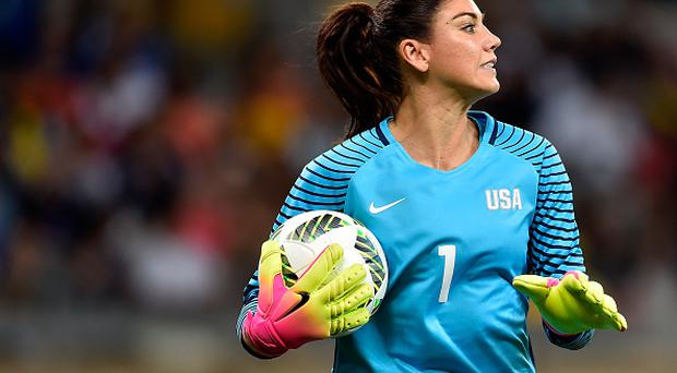 BELO HORIZONTE, BRAZIL - AUGUST 03: Hope Solo #1 of United States looks on during the Women's Group G first round match between the United States and New Zealand during the Rio 2016 Olympic Games at Mineirao Stadium on August 3, 2016 in Belo Horizonte, Brazil. (Photo by Pedro Vilela/Getty Images)